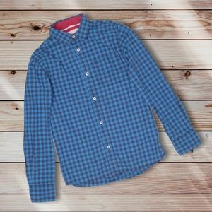 Johnny B Blue Checkered Button Front Top 11-12Y